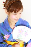 Japanese kimono with paper Fan Royalty Free Stock Photos