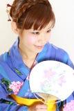 Japanese kimono with paper Fan Royalty Free Stock Photos