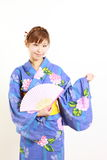 Japanese kimono with paper Fan Royalty Free Stock Images