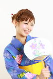Japanese kimono with paper Fan Stock Photo