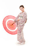 Japanese kimono woman with red traditional umbrella Stock Photos