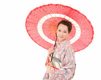 Japanese kimono woman with red traditional umbrella Stock Images