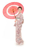 Japanese kimono woman with red traditional umbrella Royalty Free Stock Photo
