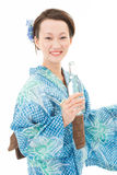 Japanese kimono women with drink Royalty Free Stock Photo