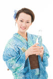 Japanese kimono women with drink Royalty Free Stock Photography