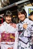 Japanese kimono women. Stock Photos