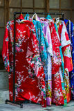 Japanese kimonos on hanger Stock Photos
