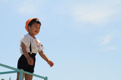 Japanese kindergarten child on the jungle gym Stock Photography
