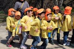 Japanese kindergarten kids in field trip Stock Images
