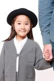 Japanese kindergartener walking to kindergarten wi Royalty Free Stock Photos