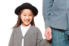 Japanese kindergartener walking to kindergarten wi Stock Photo