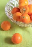Japanese kinkan , Kumquat. In a glass bowl Stock Photography