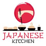 Japanese kitchen logotype. Hand with chopsticks. Asian style. Food service. Sushi bar logo. Typographic labels, symbol, stickers, stock illustration
