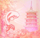 Japanese koi and ancient building background Royalty Free Stock Photos