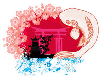 Japanese koi and ancient building background Royalty Free Stock Photography