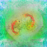Japanese koi background. Raster illustration Stock Photography