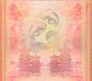 Japanese koi background. Raster illustration Royalty Free Stock Photography