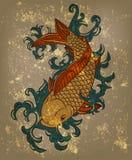 Japanese koi carp fish. On grungy background Stock Photo