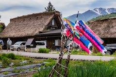 Japanese koi carp wind socks blow in the wind Royalty Free Stock Photos
