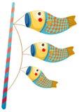 Japanese koi carp windsocks Royalty Free Stock Photography