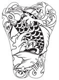 Japanese Koi fish with peony flower and wave tattoo,Japanese tattoo for Back body Stock Images