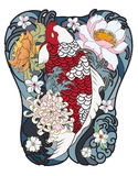 Japanese Koi fish with peony flower and wave tattoo,Japanese tattoo for Back body. Hand drawn Koi fish with peony flower and wave tattoo,Japanese tattoo for Back Stock Images
