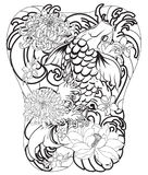 Japanese Koi fish with peony flower and wave tattoo,Japanese tattoo for Back body. Hand drawn Koi fish with peony flower and wave tattoo,Japanese tattoo for Back Stock Photo