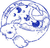 Japanese koi fish stamp Royalty Free Stock Images