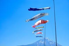 Koinobori Carp Kites and Mount Fuji. Japanese Koinobori Carp Kites on Children's Day Festival Royalty Free Stock Photo