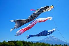 Koinobori Carp Kites and Mount Fuji. Japanese Koinobori Carp Kites on Children's Day Festival stock images