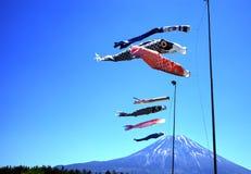 Koinobori Carp Kites and Mount Fuji. Japanese Koinobori Carp Kites on Children's Day Festival Stock Photo