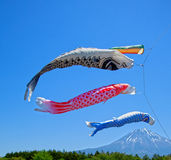 Koinobori Carp Kites and Mount Fuji. Japanese Koinobori Carp Kites on Children's Day Festival Royalty Free Stock Image