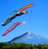 Koinobori Carp Kites and Mount Fuji. Japanese Koinobori Carp Kites on Children's Day Festival Royalty Free Stock Images