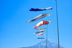Koinobori Carp Kites and Mount Fuji Royalty Free Stock Photo