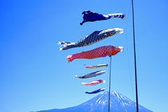 Koinobori Carp Kites and Mount Fuji Stock Photos