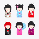 Japanese Kokeshi Dolls icons Royalty Free Stock Photography