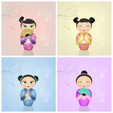 Japanese kokeshi dolls Royalty Free Stock Photo
