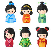 Japanese Kokeshi Dolls, vector icons Royalty Free Stock Image