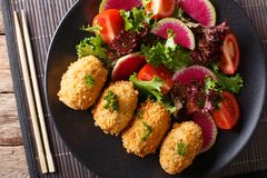 Japanese korokke with a salad of fresh vegetables close-up. Hori. Japanese korokke with a salad of fresh vegetables close-up on a plate. Horizontal top view from Royalty Free Stock Photography