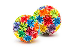 Japanese Kusudama. Colorful Japanese Kusudama (medicine ball) on a white background Stock Images