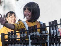 Japanese Kyoto Tachiba High School band show in the famous Rose Royalty Free Stock Images