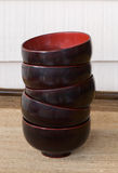 Japanese lacquer bowls stock photo