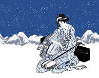 Japanese lady or geisha in kimono playing the shamisen. With winter snowy mountains on the background vector illustration