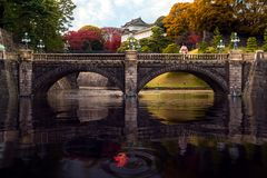 Japanese lady in Kimono dress stand on stone bridge in Imperial place stock photos