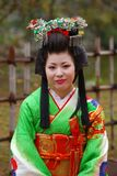 Japanese lady in kimono, Himeji, Japan. Himeji is one of the most beautiful castles in Japan, where you can see sometimes japanese ladies in kimonos Stock Photos