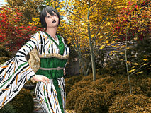 Japanese Lady in a tea garden Royalty Free Stock Images