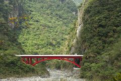 Japanese landscape. With a red bridge Stock Image