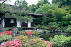 Japanese landscape garden. In Kyoto stock photography