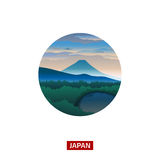 Japanese landscape with mountain Fuji. Discover the world nature background Royalty Free Stock Images