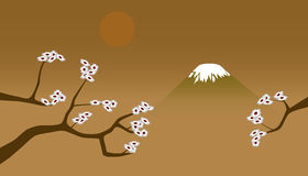 Japanese landscape. Primitive vector landscape in Japanese style Royalty Free Stock Image